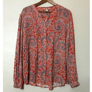 Lucky Brand Red Long Sleeve Casual Top